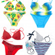 Collage from varicoloured swimsuit — Stock Photo