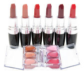 Lipstick stands in row — Foto Stock