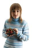 板的草莓女孩的人物肖像 — 图库照片