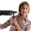 Beautiful girl with perforator — Stock Photo