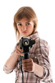 Young beautiful girl with perforator — Stock Photo