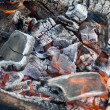 Campfire burning coal — Stock Photo