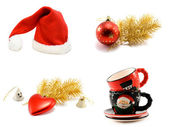 Сollage hat Santa cristmas embellishment — Stock Photo