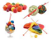 Сollage varicoloured ball for knitting — Stock Photo
