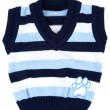 Baby sweater striped with blue strip - Stock Photo