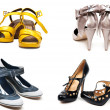 Collage from four pairs feminine loafers — Stock Photo