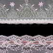 Collage lace with pattern on black background — Stock Photo