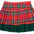 Plaid red feminine skirt — Stock Photo