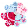 Baby knitted mittens with pattern — Stock Photo