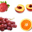 Collage from fresh ripe fruit grape, peach, strawberries and ora — Foto Stock