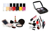Collage varnish for nail and set for make-up — Stock Photo