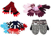 Collage from knitted mittens and gloves — Stock Photo