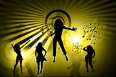 Creative background and silhouette dance — Stock Photo