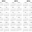 Calendar for year 2011, 2012, 2013, 2014, 2015 - Stock Photo
