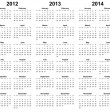 Calendar for year 2011, 2012, 2013, 2014, 2015 — Stock Photo