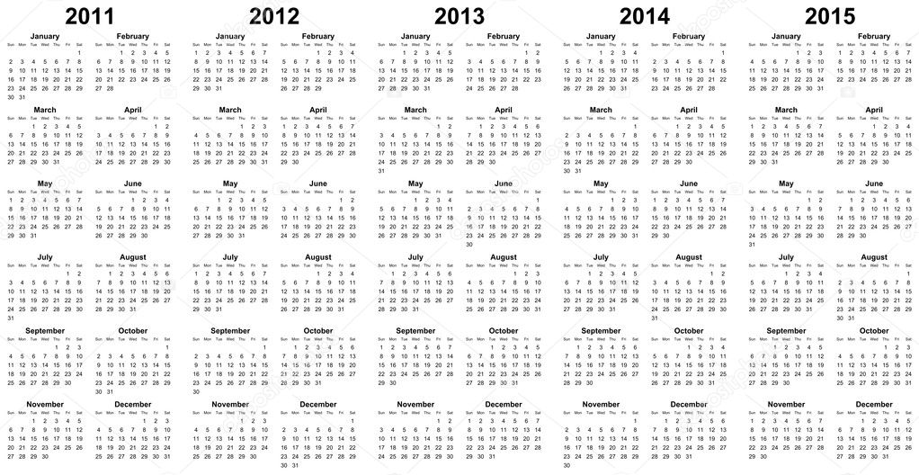 Calendar for year 2011, 2012, 2013, 2014, 2015  Stock Photo #3812743