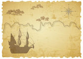 Old treasure map — Stock Vector