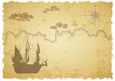 Vecchia mappa del tesoro — Vettoriale Stock