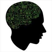Silhouette HEAD motherboard — Stock Vector