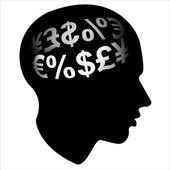 Finance economyman profile head — Stock Photo