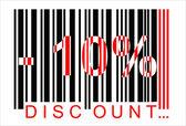 -10 percent discount, bar code — Stock Vector