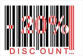 20 percent discount, bar code — Stock Vector