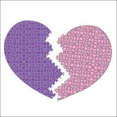 Violet BROCKEN puzzle heart — Stock Vector
