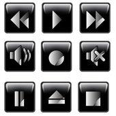 Media player button set vector — Stock Vector