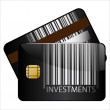 Investments bar-code credit cardt — Stock Vector