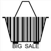 Big sale BARCODE Shopping basket — Stock Vector