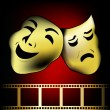 Red gold theatrical mask of tragedy and comedy vector - Stock Vector