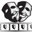 Theatrical mask of tragedy and comedy vector - Imagen vectorial