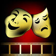 Red gold theatrical mask of tragedy and comedy vector — Stock Vector