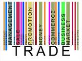 Green trade text barcode, vector — Stock Vector