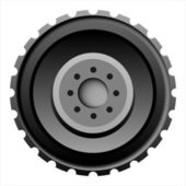 Tractor tire on white background — Stock Vector