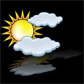 Sun cloud icon vector — Stock Vector