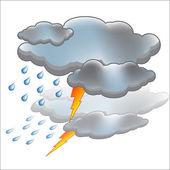 Sun rain cloud icon vector — Stock Vector