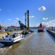 Stock Photo: Ship's passes through sluice