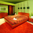 Green bedroom interior — Stock Photo