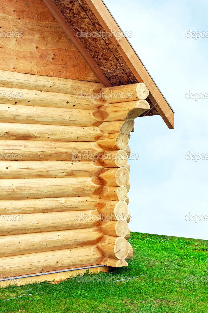 Close up shot of log wood house corner joints  Stock Photo #2894191