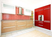 Red kitchen angle 2 — Stock Photo