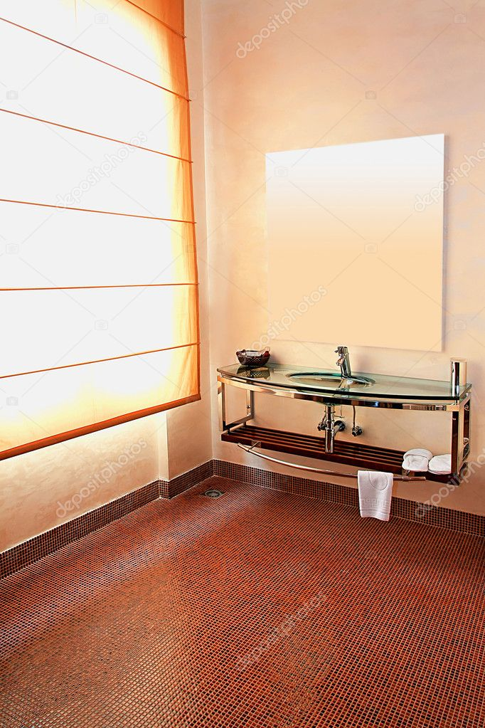 Interior shot of contemporary toilet with mirror  Stock Photo #2913020