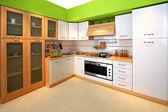 Zelená kuchyně — Stock fotografie