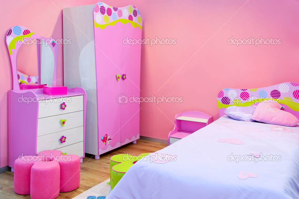Interior of girls room all in pink — Stock Photo #2952815