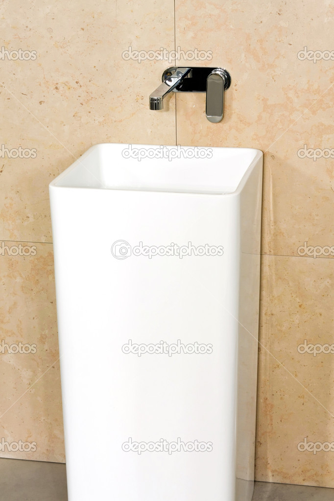 Modern white wash stand in geometric shape   Stock Photo #2979502
