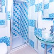 Blue bathroom - Stock Photo