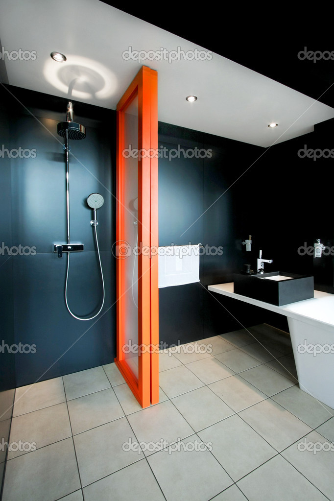 Shower all in black with orange divider — Stock Photo #3037558