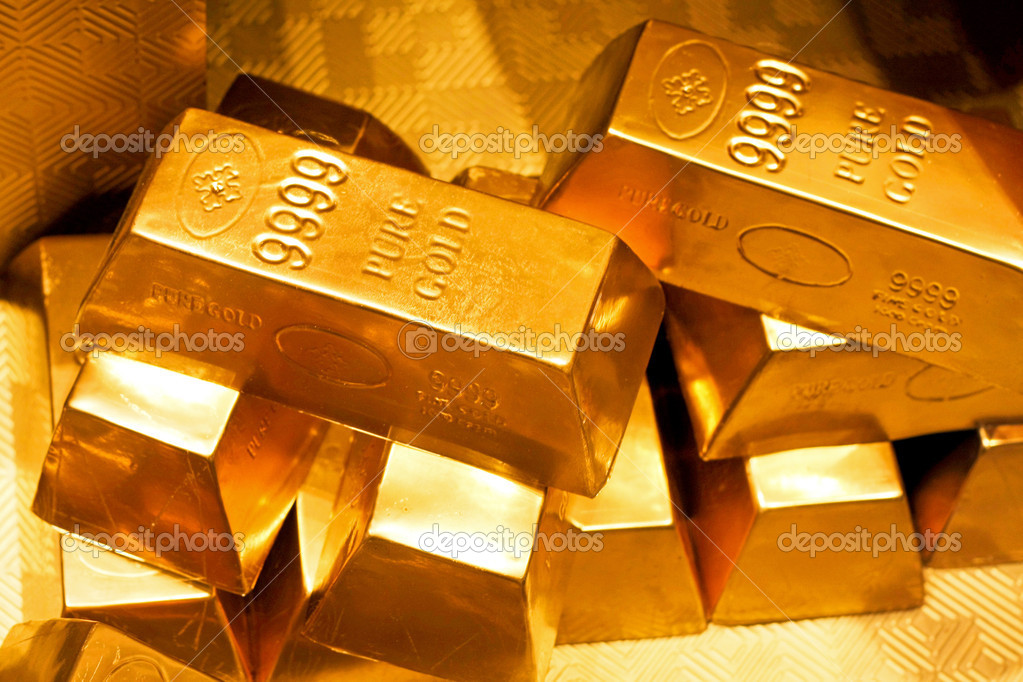 Close up shot of pure gold bars  Stock Photo #3065570
