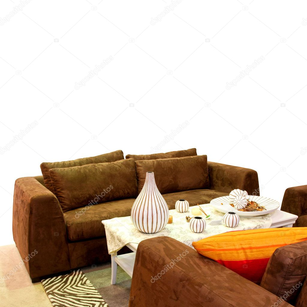 Living room with brown leather sofa isolated — Stock Photo #3065619