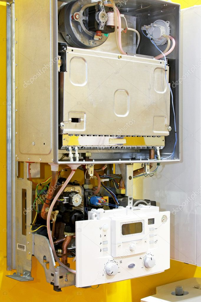 Close up shot of open water heater  Stock Photo #3163064